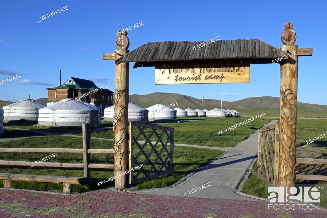 Stock Photo: Steppe nomads resort, Gun Galuut, Mongolia.