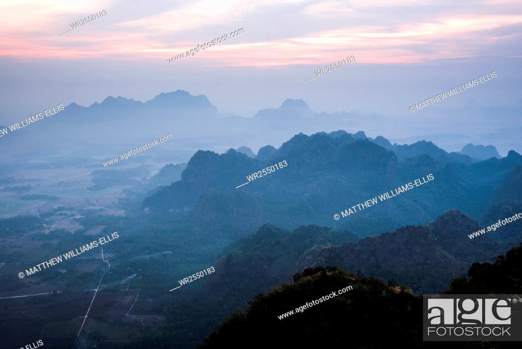 Stock Photo: View from Mount Zwegabin at sunrise, Hpa An, Kayin State (Karen State), Myanmar (Burma), Asia.
