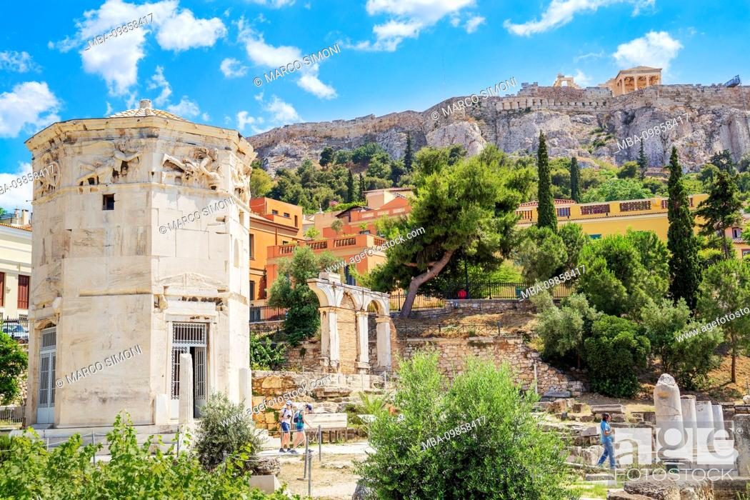 Stock Photo: Remains of the Roman Agora and Tower of Winds, Athens, Greece, Europe,.