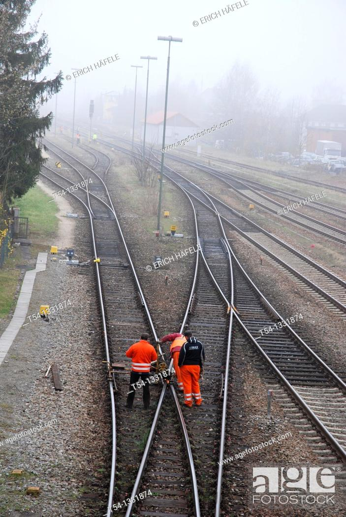 Stock Photo: Rail track workers control.