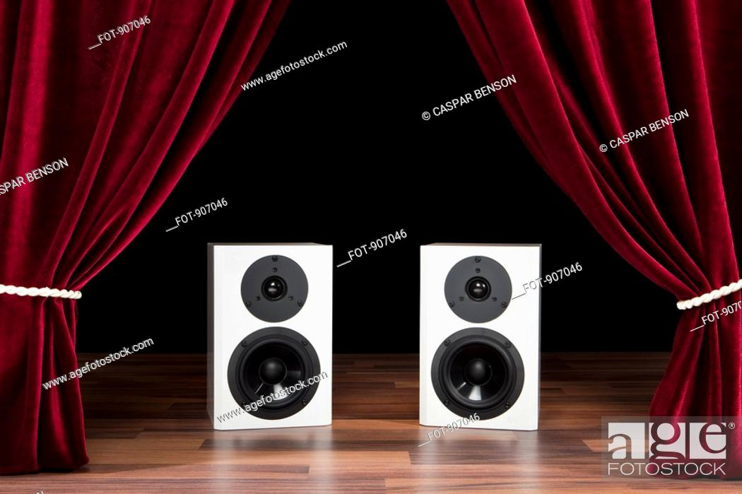 Stock Photo: Two Audio Speakers On A Theatre Stage.