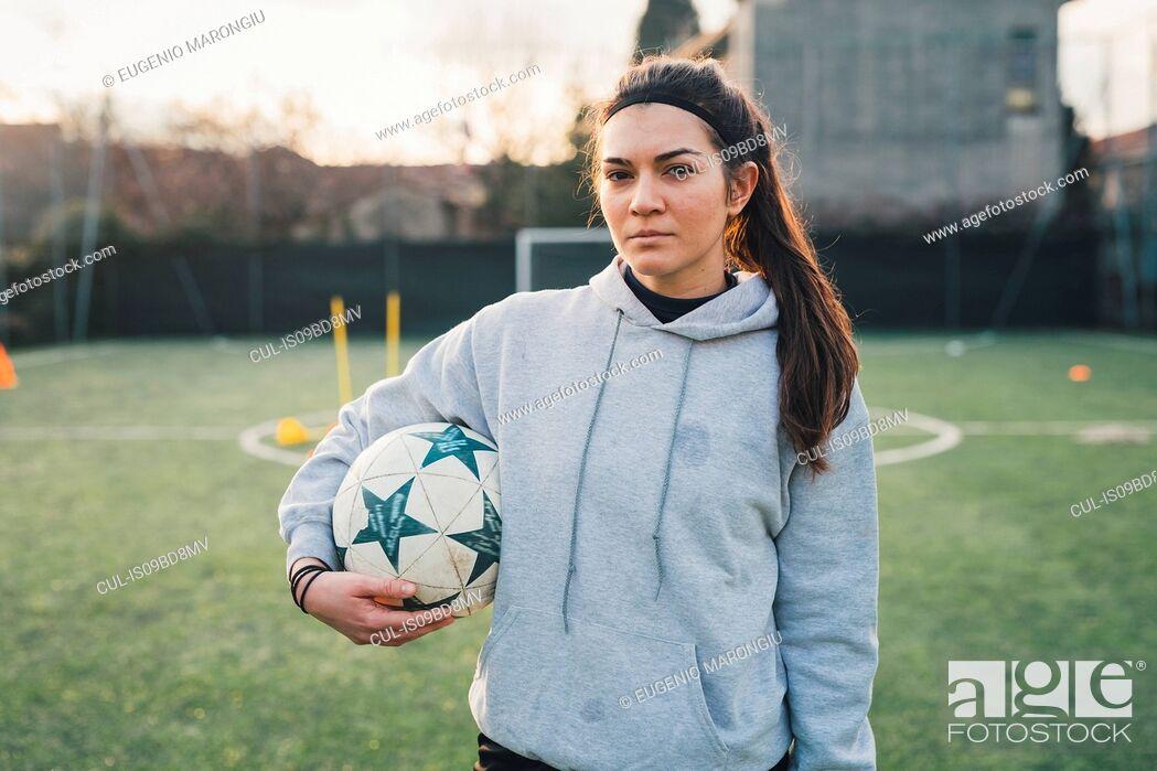 Stock Photo: Portrait of female football player.