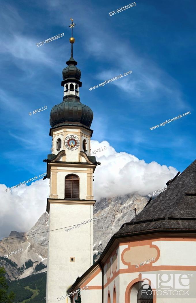 Stock Photo: Spire of the parish church St. Catherine, Lermoos, Tyrol, Austria.