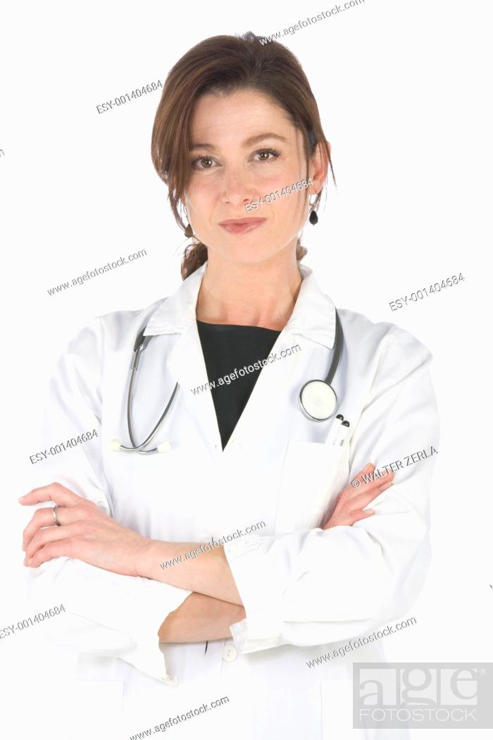 Stock Photo: Female doctor with stethoscope.