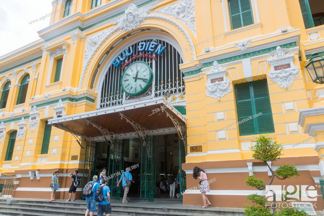 Stock Photo: General Post Office Building from the French Indochina Era, now a popular tourist attraction in Saigon, Vietnam.