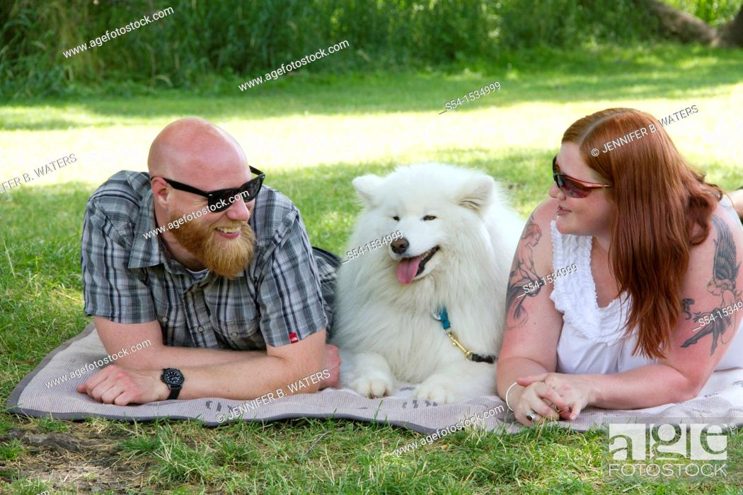Stock Photo: A couple, 30-35 years, in Spokane, Washington, USA.