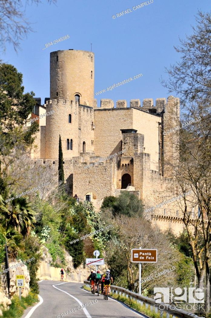 Stock Photo: X century castle. Castellet i la Gornal, municipality in the comarca of the Alt Penedès in Barcelona, Catalonia, Spain. Situated in the valley of the Foix river.