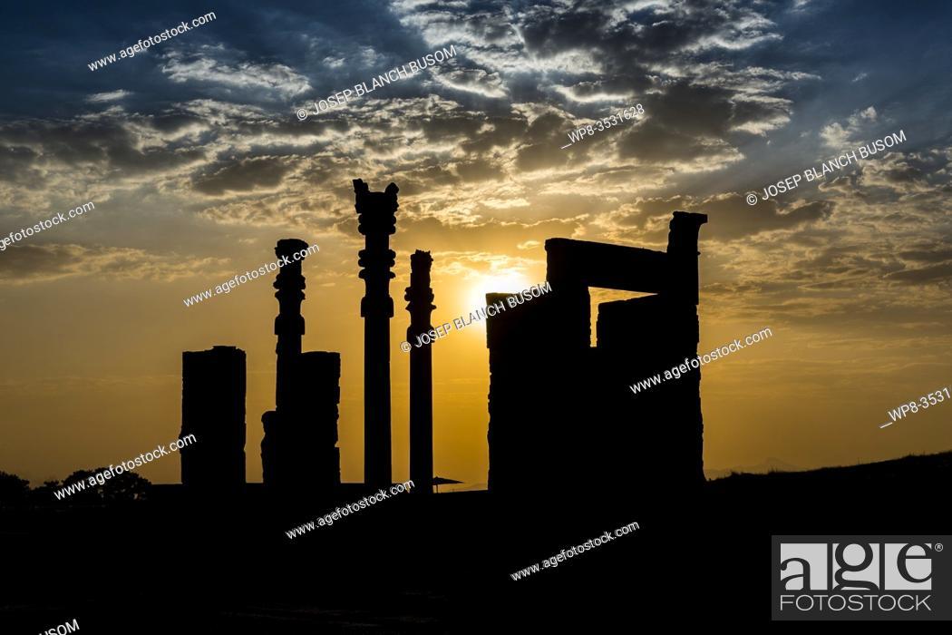 Stock Photo: Sunset in Persepolis. Iran.