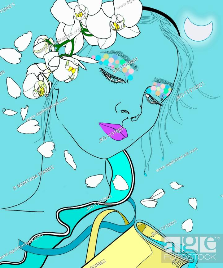 Aquarius woman zodiac sign with flowers in hair pouring