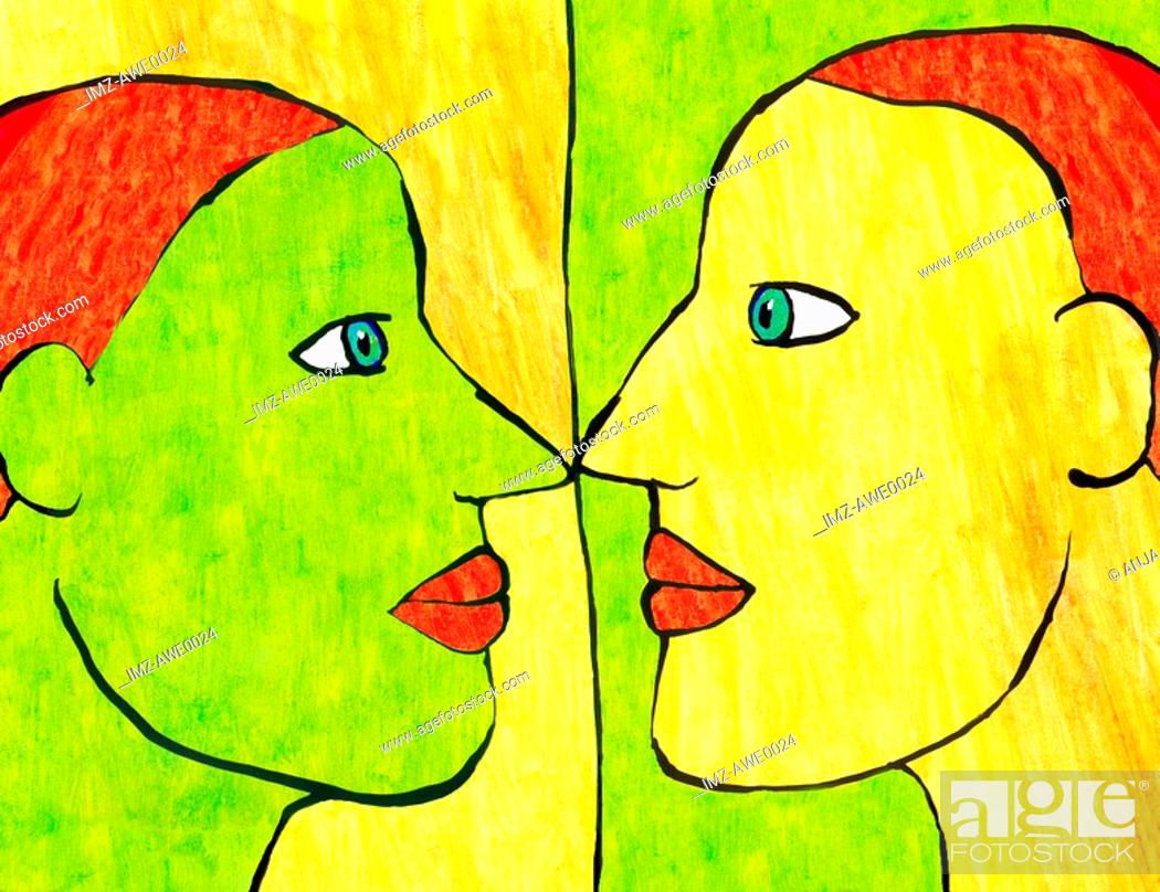 Stock Photo: Cartoon drawing of a woman and her reflection.