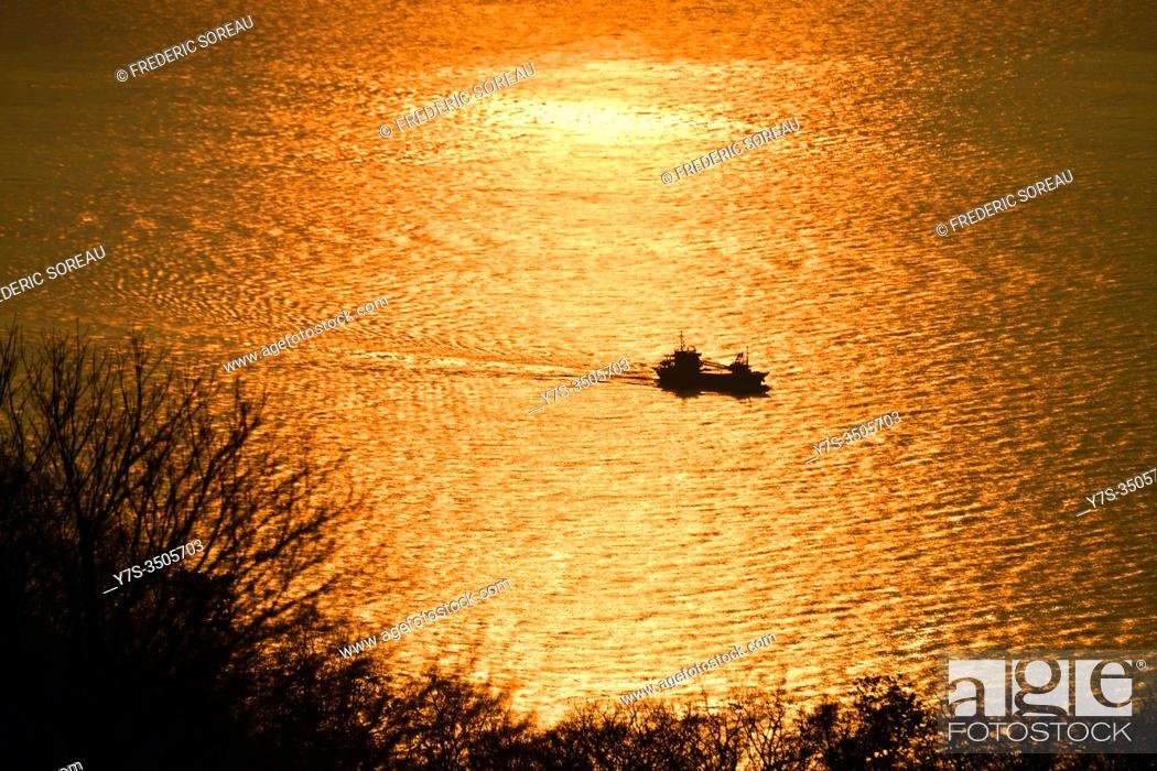Stock Photo: Sunset in Hakodate, Hokkaido, Japan, Asia.