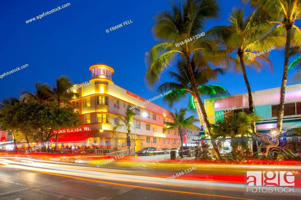 Ocean Drive Restaurants And Art Deco Architecture At Dusk South