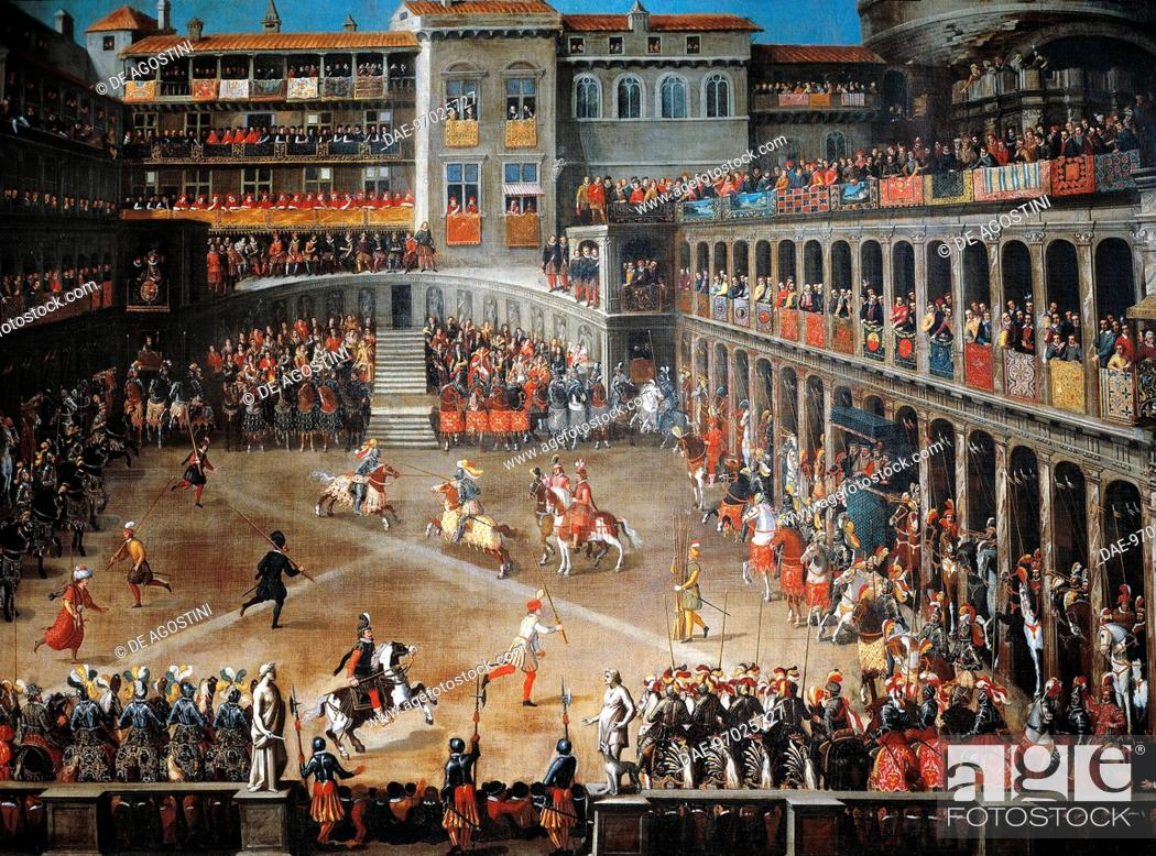 Stock Photo: Tournament in the courtyard of the Belvedere in Rome, ca 1610, painting by unknown 17th century artist.  Roma, Museo Di Roma Gabinetto Comunale Delle Stampe.