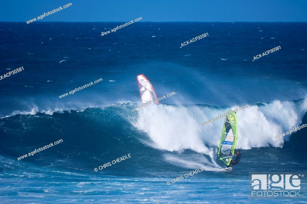 Sailboarding at Paia Bay, Maui, Hawaii, United States, Stock