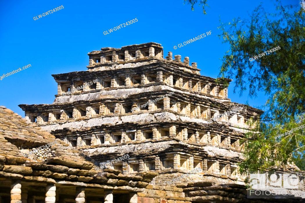 Stock Photo: Low angle view of a pyramid, Pyramid Of The Niches, El Tajin, Veracruz, Mexico.