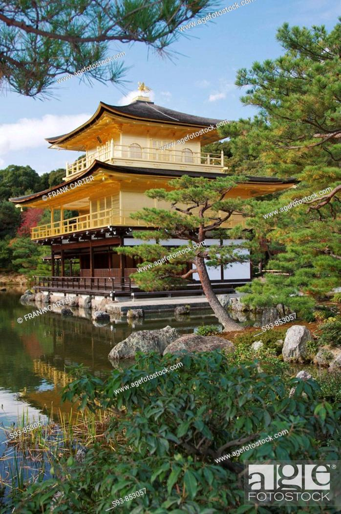 Stock Photo: Kinkakuji, the Golden Temple, framed by bonsai-like pine trees and reflected in the pond in front of it, is situated in the north west of Kyoto city.