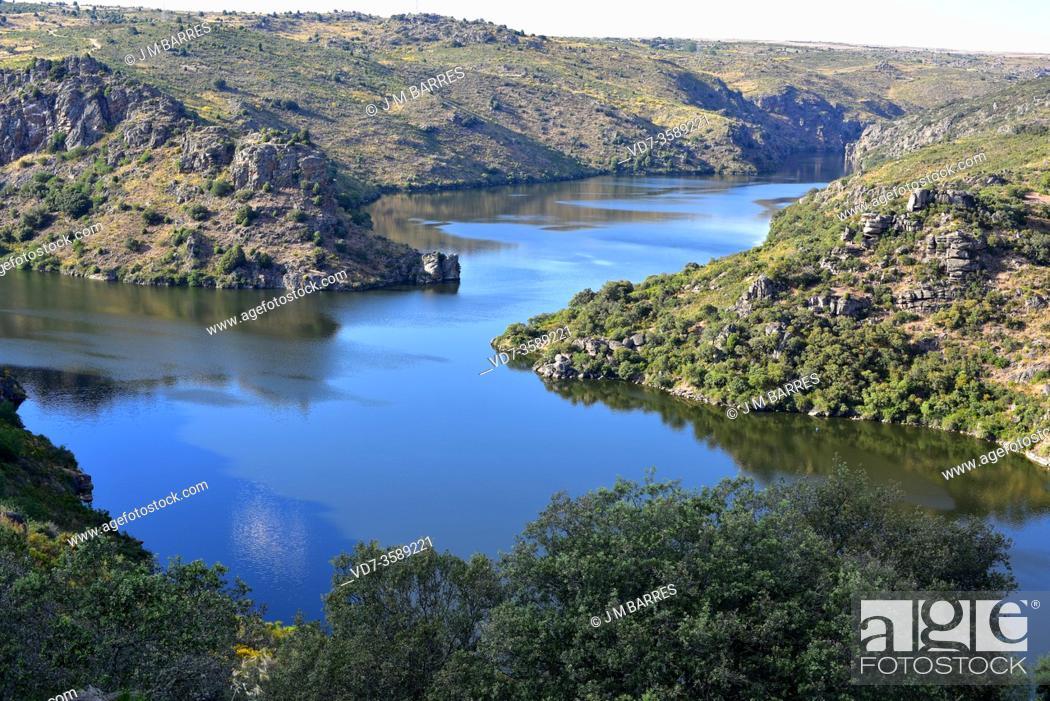 Stock Photo: Duero and Esla rivers junction near Abelon, Zamora province, Castilla y Leon, Spain.