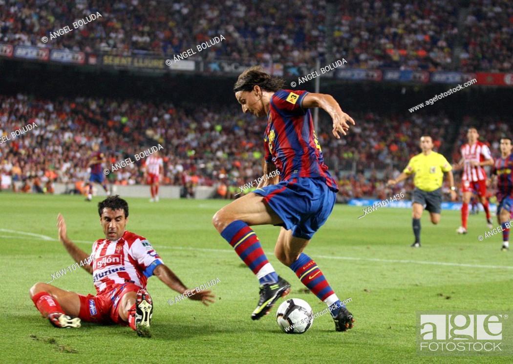 Stock Photo: Barcelona, Camp Nou Stadium, 31/08/2009, Spanish League, FC Barcelona vs. Sporting de Gijón, Zlatan Ibrahimovic.