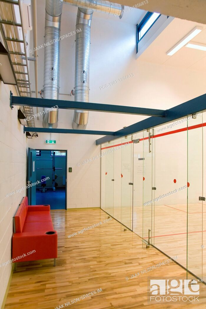 Stock Photo: Waiting Area of a Racquetball Court.