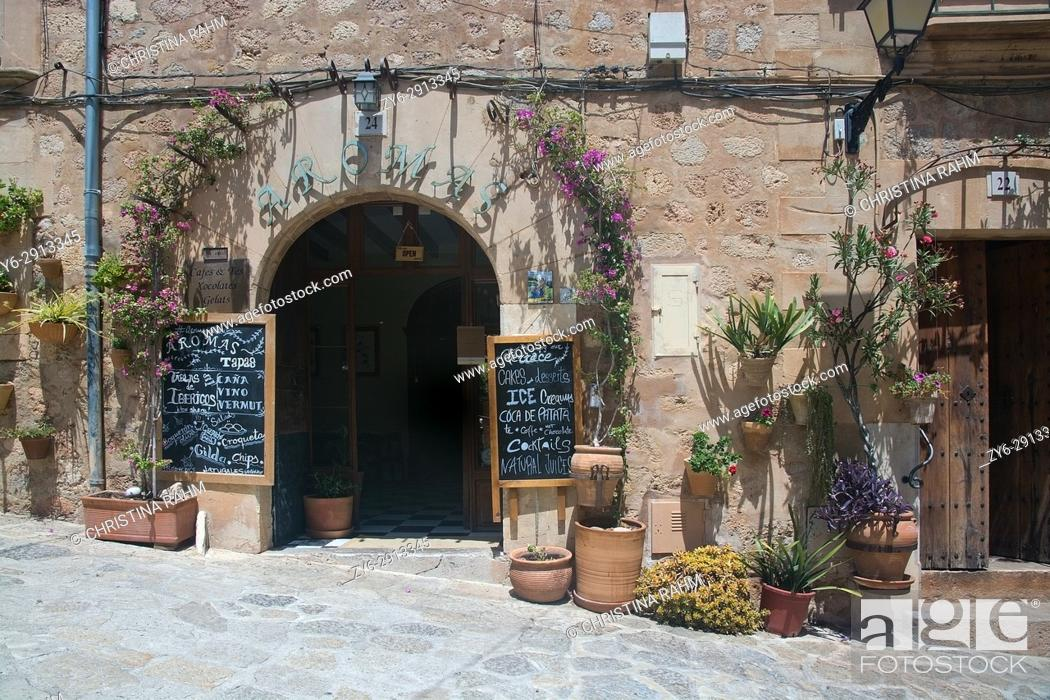 Stock Photo: Details in Valldemossa town on a sunny day in July in Mallorca, Balearic islands, Spain.