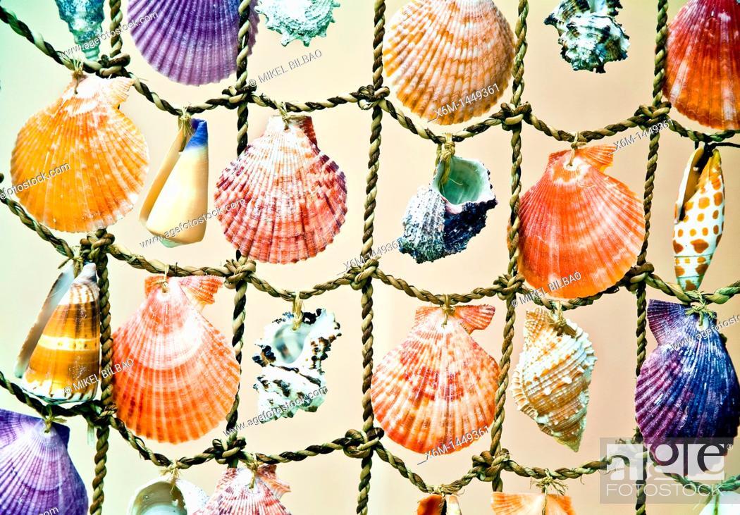 Stock Photo: Decorative shells  Fira village  Santorini island, Cyclades islands, Aegean Sea, Greece, Europe.