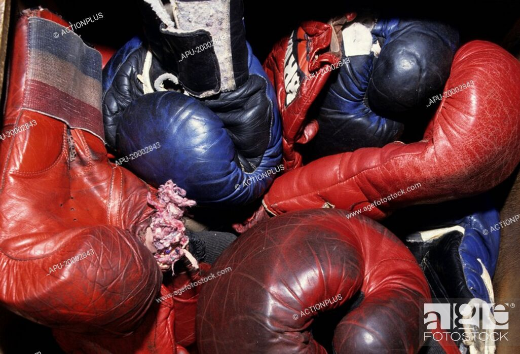 Stock Photo: Close up of several boxing gloves.