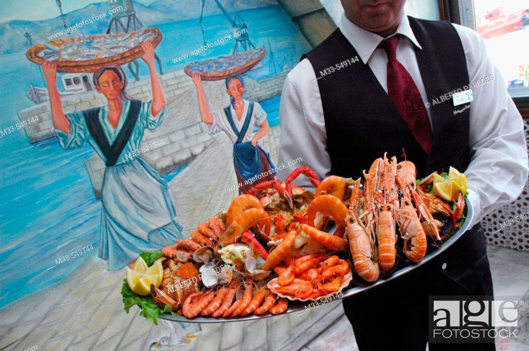Stock Photo: Carrusel de marisco en la Marisquería Bahía. Vigo. Spain.
