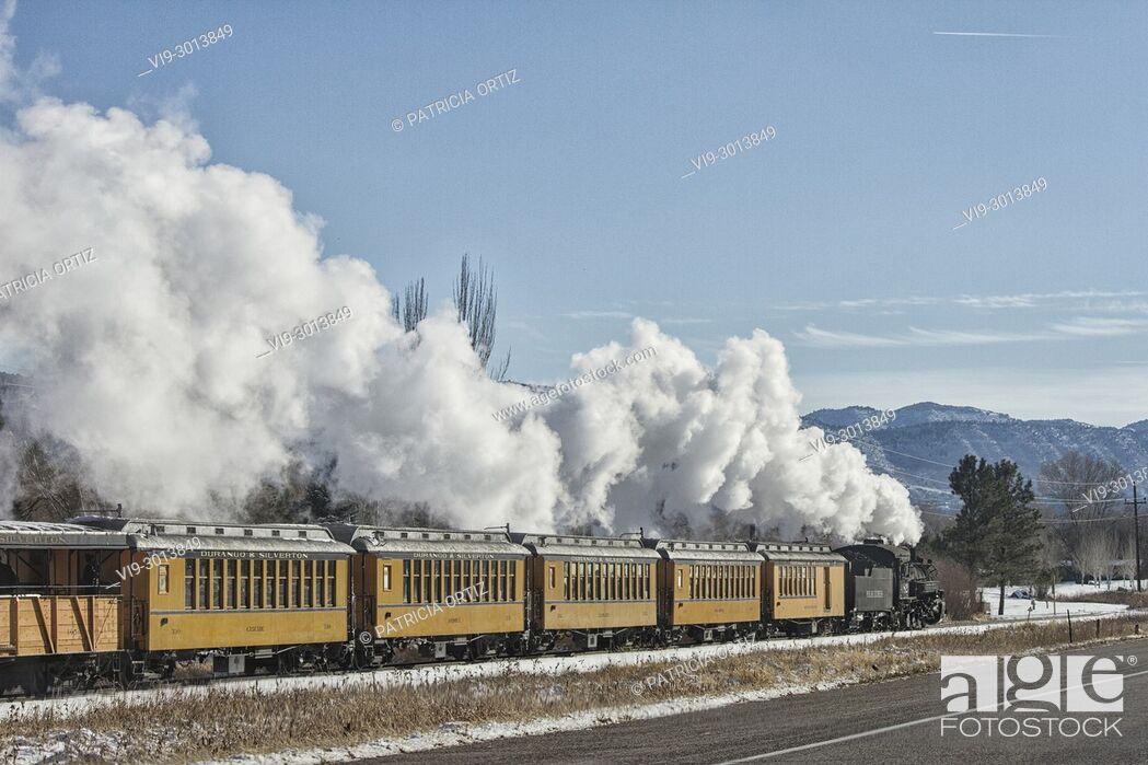 Stock Photo: Train running in Durango, Colorado, USA.