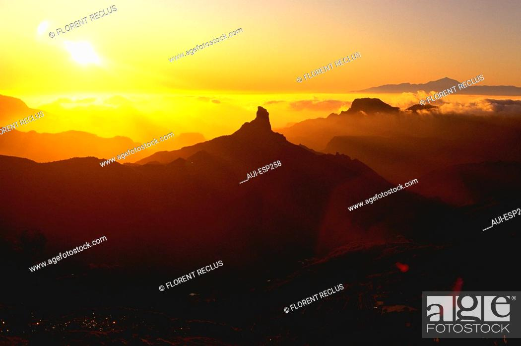 Stock Photo: Spain - Canary Islands - Great Canary - Roque Bentayga Teide.