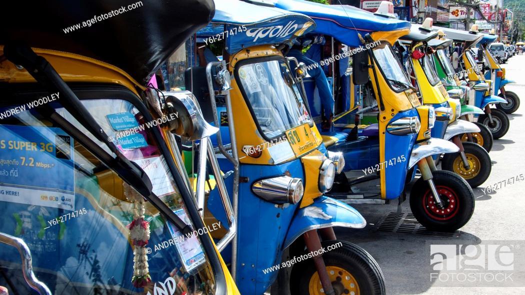 Stock Photo: Tuk tuk taxis parked Hua Hin Thailand.