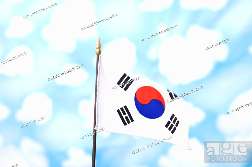 Stock Photo: wallpaper and Korean flag, Taegeukgi.