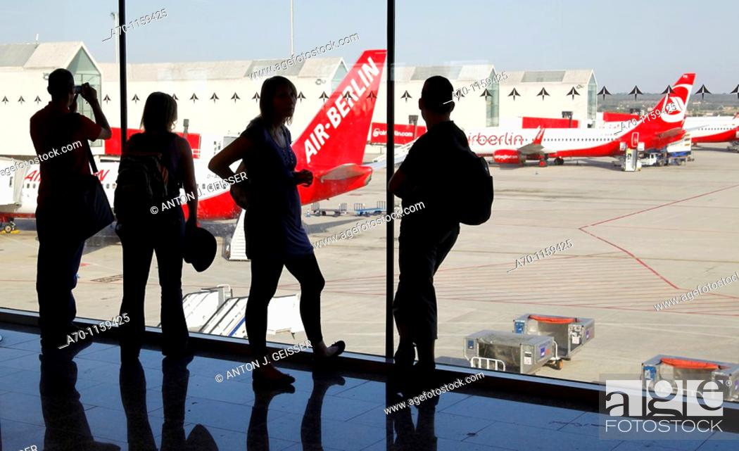 Stock Photo: Peoples ready for takeoff , airport , Palma de Mallorca.
