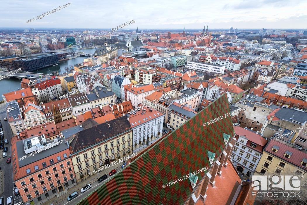 Stock Photo: Panoramic view from Garrison Church in Old Town of Wroclaw, Poland.