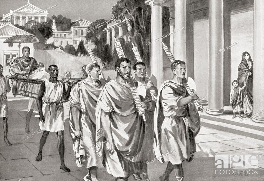 Stock Photo: Lictors carrying fasces. In ancient Rome the Lictors were public officers and bodyguards to the chief Roman magistrates, they carried rods decorated with fasces.