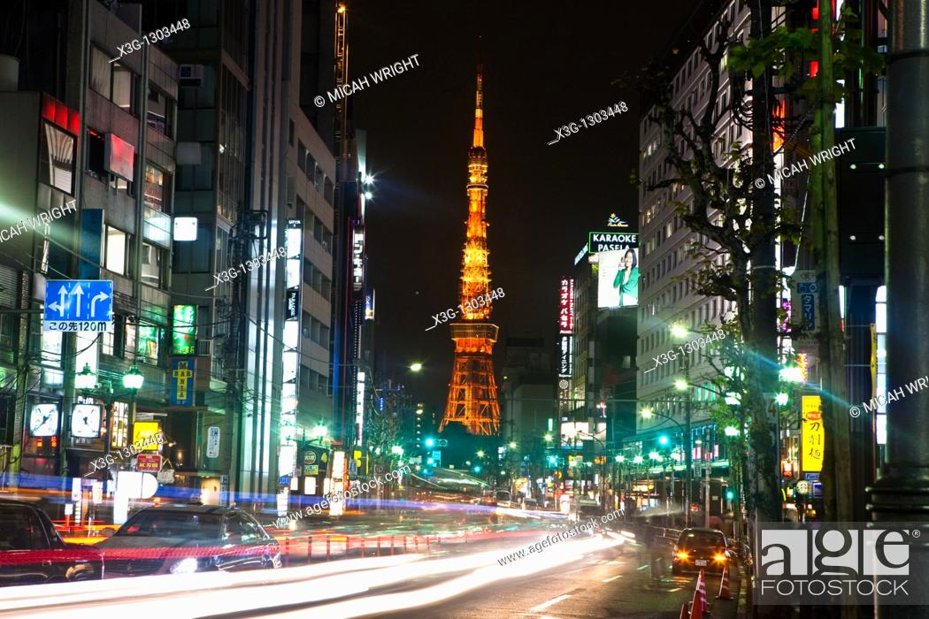 Stock Photo: Tokyo Tower is a communications and observation tower located in Shiba Park, Minato, Tokyo, Japan. At 332 5 metres 1, 091 ft.