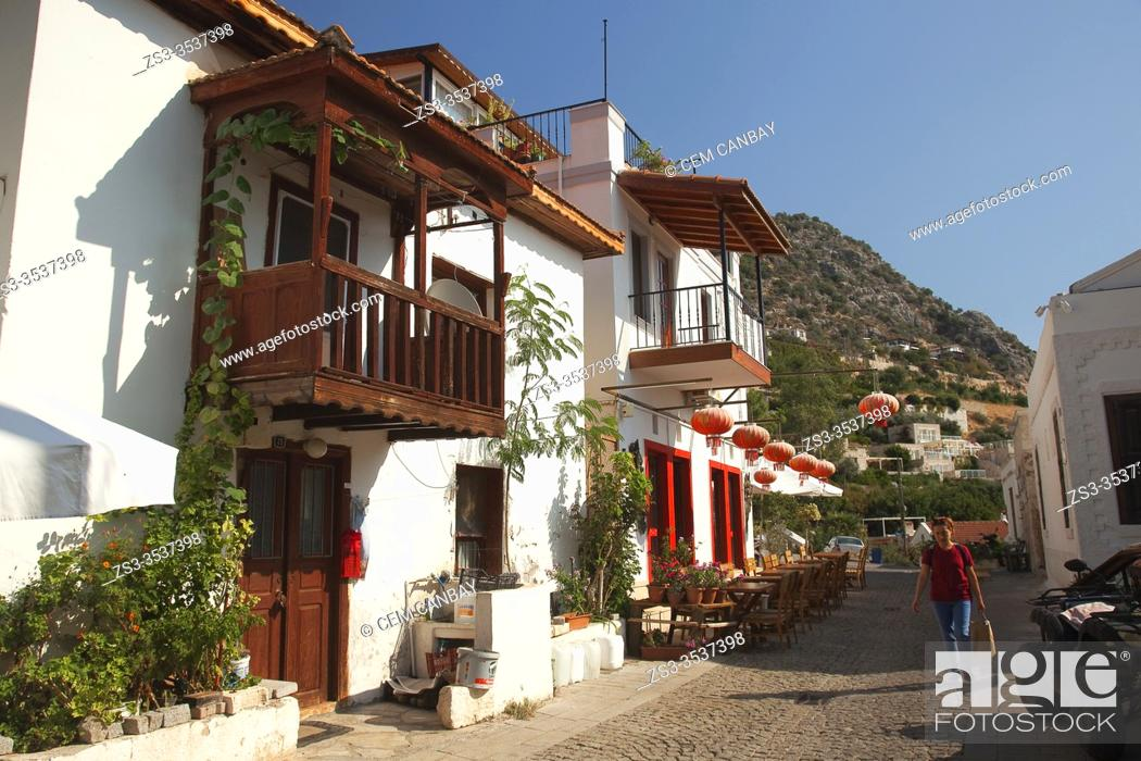 Stock Photo: View to the traditional Turkish houses with balconies at the town center of Kalkan, Antalya Region, Turkey, Europe.