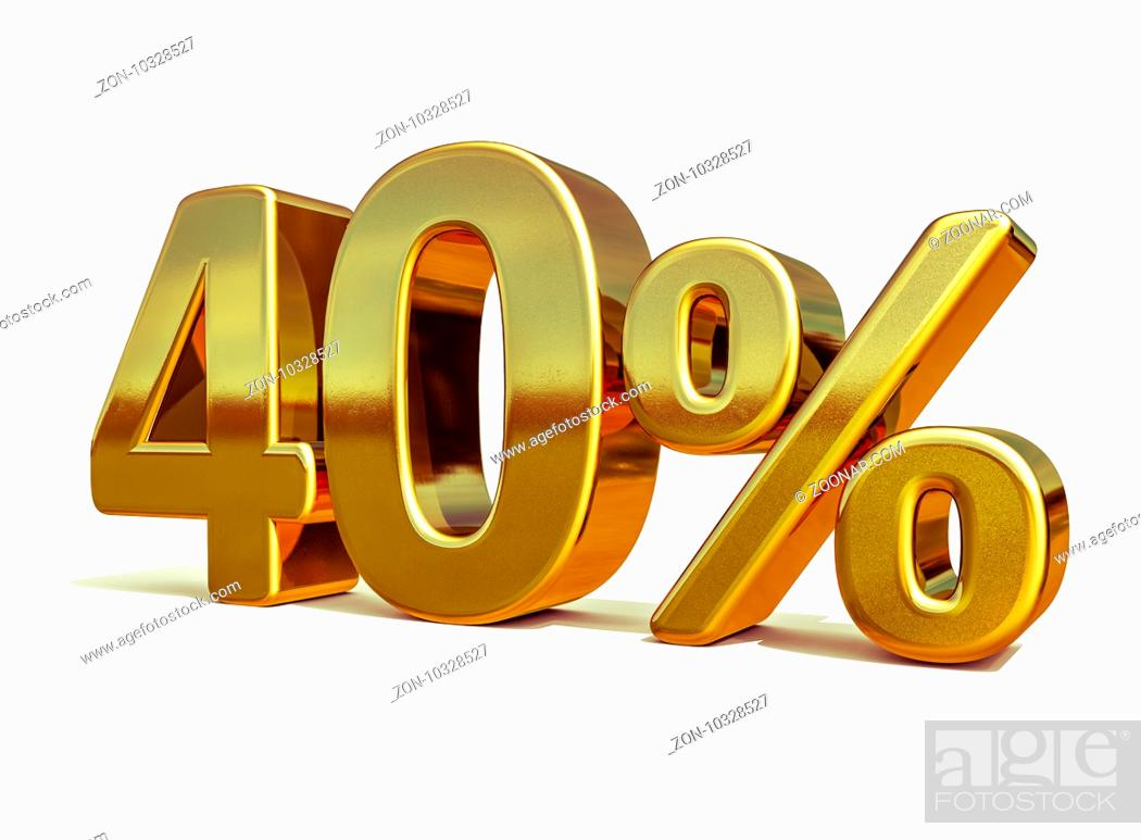 Stock Photo: Gold Sale 40%, Gold Percent Off Discount Sign, Sale Banner Template, Special Offer 40% Off Discount Tag, Forty Percentages 40 Sticker, Gold Sale Symbol.