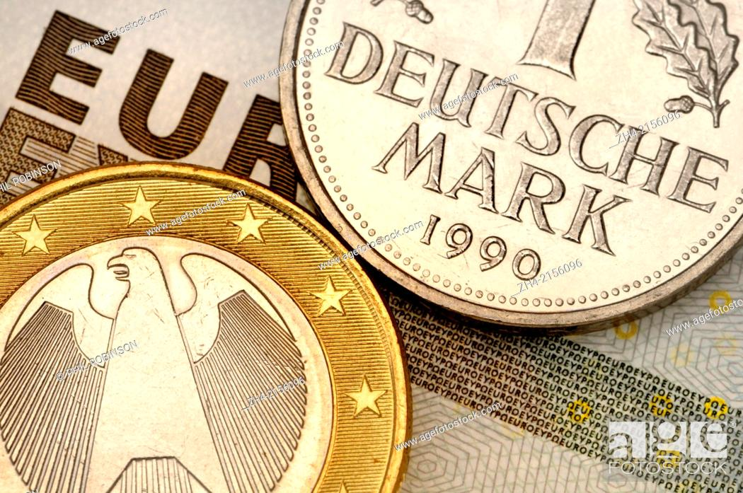 Stock Photo: German 1 Euro coin and old 1 Deustchmark on €5 note.