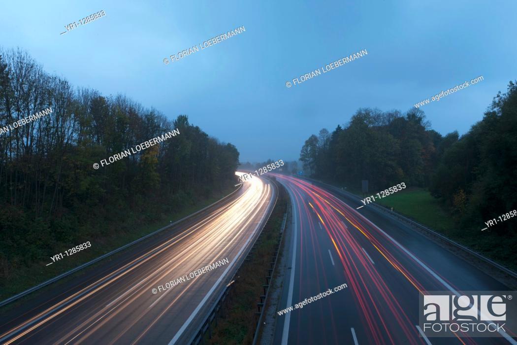 Stock Photo: Long exposure of the german autobahn. Shot in bavaria at dusk blue hour.