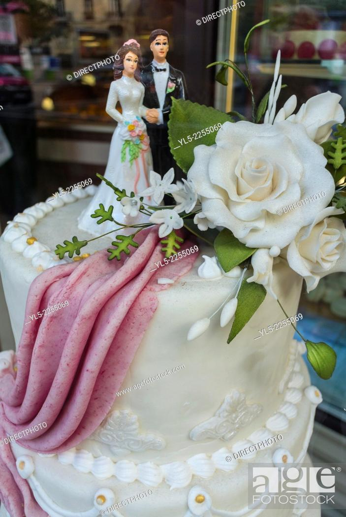 French Wedding Cake.Paris France Shopping French Wedding Cake On Display In Bakery