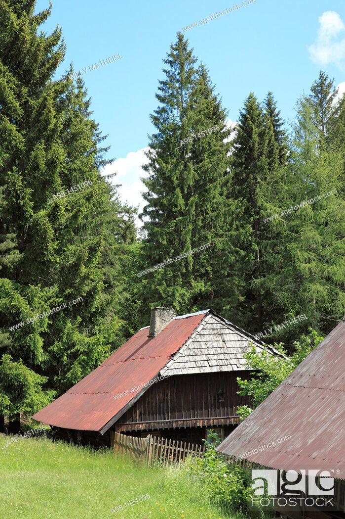 Stock Photo: traditional old farmhouses at the village Srni, German: Rehberg, Bohemian Forest, National Park Sumava, Czech Republic, Europe.