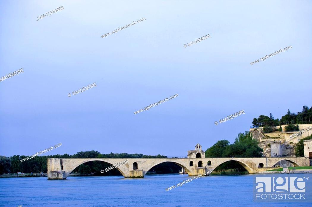 Stock Photo: St. Benezet's Bridge over Rhone River, Avignon, Provence-Alpes-Cote d'Azur, France.