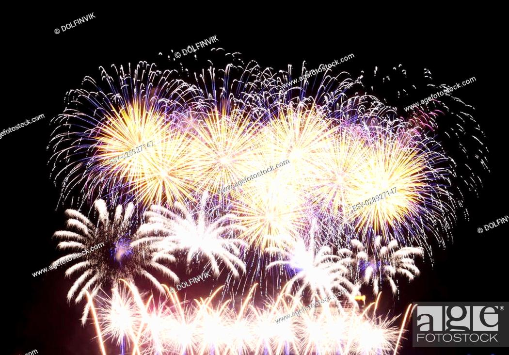 Stock Photo: Fireworks in Big Eeuropean city Riga, Independence day.