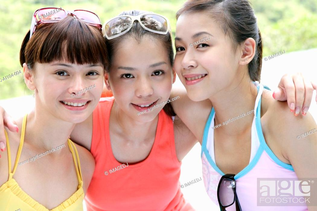 Stock Photo: Portrait of young women smiling,.