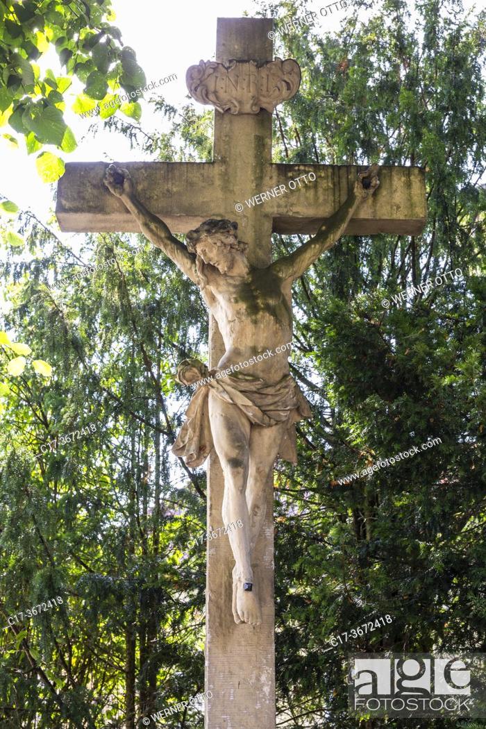 Stock Photo: Borken, D-Borken, Hohe Mark Westmuensterland Nature Park, Muensterland, Westphalia, North Rhine-Westphalia, NRW, wayside cross, stone cross.