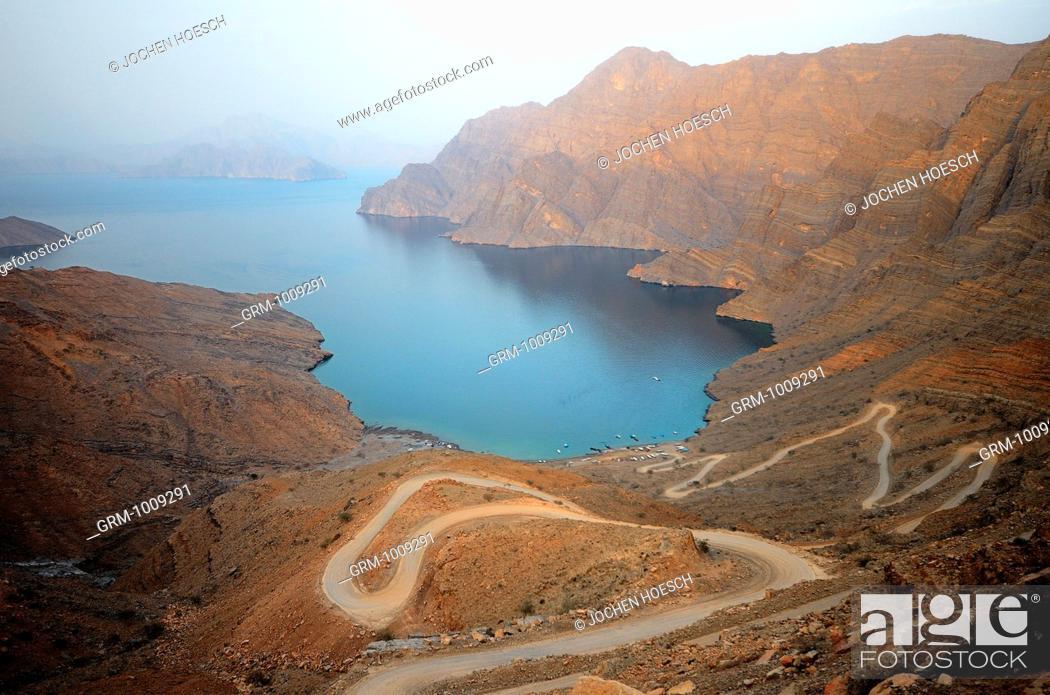 Stock Photo: View from Khor Al Najd, Musandam peninsula, Oman.
