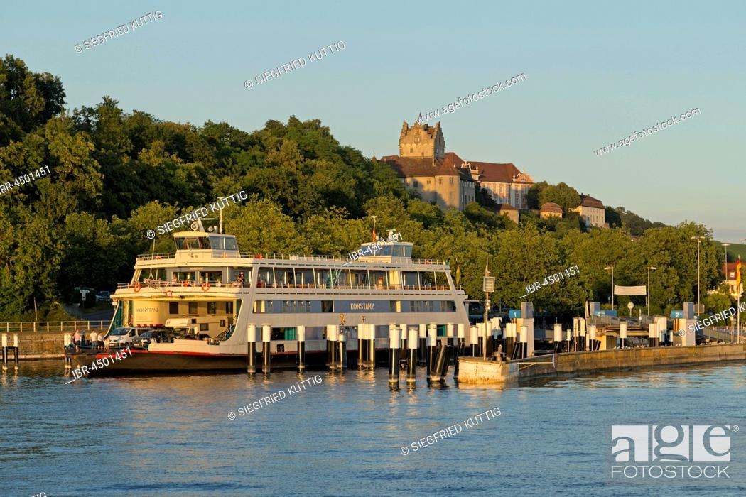Stock Photo: Ferry port, Meersburg, Lake Constance, Baden-Württemberg, Germany.