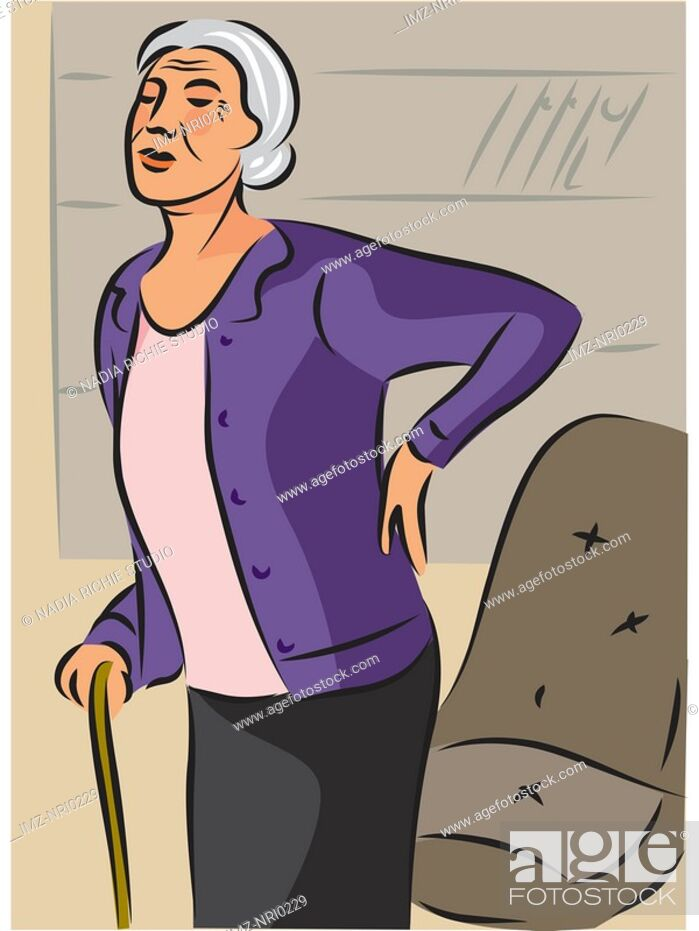 Stock Photo: An elderly woman with a cane, holding her back as she stands from her chair.