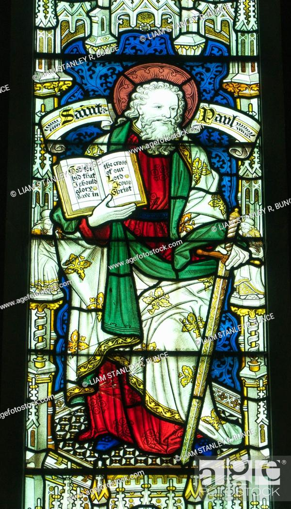 Stock Photo: Stained glass depicting St Paul, St Mary's Priory Church. Abergavenny Wales UK. May 2019.