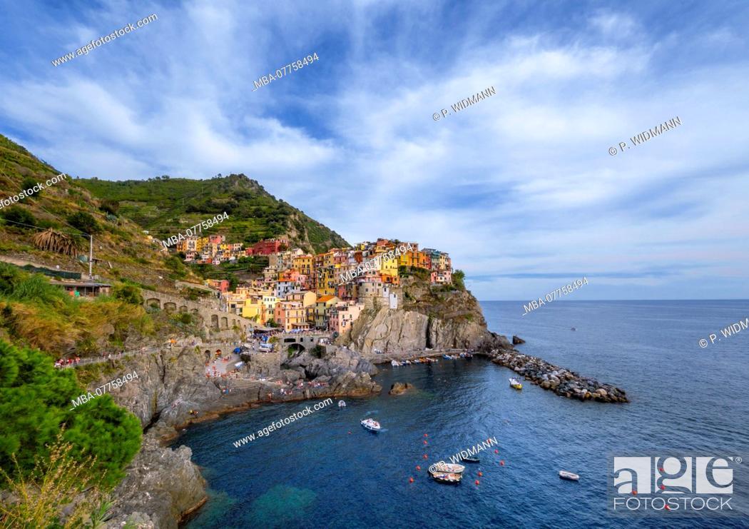 Stock Photo: View of harbour and colourful houses, Manarola, Cinque Terre, La Spezia, Liguria, Italy, Europe.